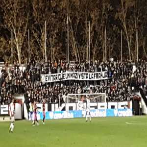 Bukaneros: Not because of racism, nor xenophobia, nor even violence. First ever suspended match in Spain is because of saying the truth. ZOZULYA YOU'RE A NAZI.