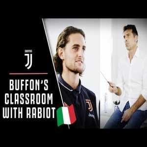 Buffon's Classroom! Gianluigi Buffon puts Adrien Rabiot's Italian knowledge to the test.