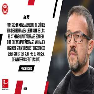Fredi Bobic (Eintracht Frankfurt): We are not looking for excuses, the reasons for the defeat are all in our own hands. It's not a question of quality, but of mentality. We have brought this situation upon ourselves. Now we have to clear our heads, the winter break is doing us good.