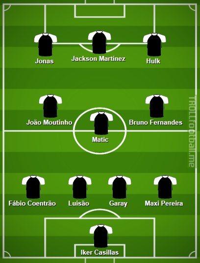 Primeira Liga's team of the decade: Iker Casillas, Fábio Coentrão, Luisão, Garay, Maxi Pereira, Matic, João Moutinho, Bruno Fernandes, Hulk, Jackson and Jonas