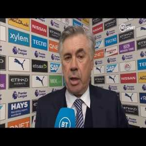 """""""Man City deserved to win. We were too shy."""" Ancelotti on first defeat as Everton boss"""