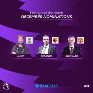 Premier League Manager Of The Month nominees: Klopp, Solskajer and Pearson.