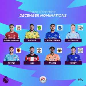 Premier League player of the month nominees for December: Alexander-Arnold, Buendia, Calvert-Lewin, De Bruyne, Foster, Ings, Traore, Vardy