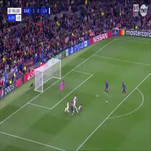 Throwback to Dembele's guilt edge opportunity to put Barcalona 4-0 up against Liverpool, Messi reacts knowing that it was a crucial moment.
