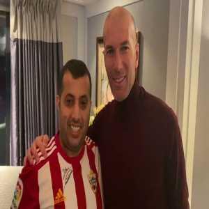 Almeria's owner Turki Al-Sheikh jokingly giving Zidane the Materazzi headbutt