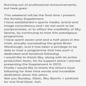 Neil Ashton stepping down as host of Sky Sports Sunday Supplement after seven and a half years in the role