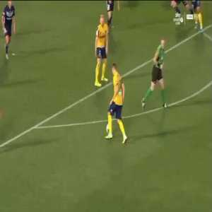 Central Coast Mariners v Melbourne Victory in the A-League. CCM Losing 2-1 after VAR ruled out a goal earlier, then with 1 min + extra time left. We have two more VAR reviews, two penalties and CCM win