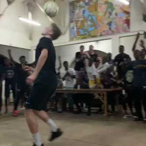 Oli Antman shows the universal language of football during FCN's training camp