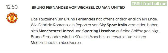 Sky Deutchland has fallen for a fake Fabrizio Romano account regarding the deal for Bruno Fernandes done.