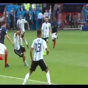 A look back at Argentina's final ball against France in the 2018 World Cup; Di Maria's foot avoids Fazio's heading opportunity that would result in a 4-4 Equalizer after going 4-2 down with Mbappe and Griezmann having already been subsituted