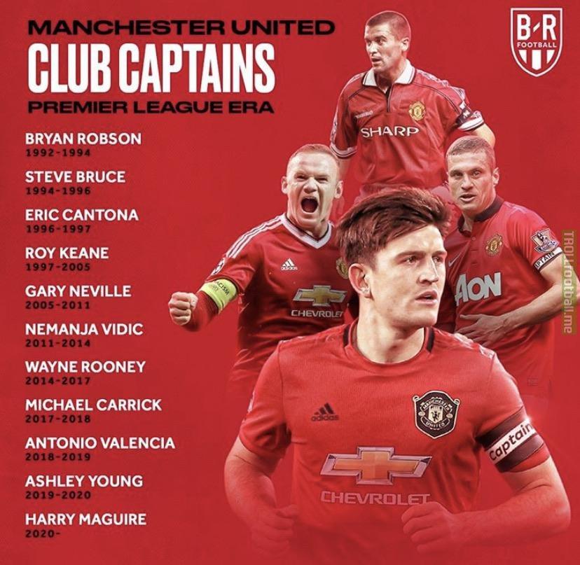 Manchester United captains throughout the premier league era