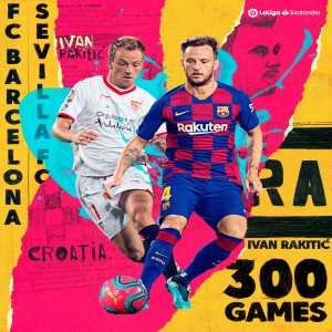 Ivan Rakitic (31, FC Barcelona) became the first and only Croatian player who played 300 games in the Spanish La Liga/Primera. On the 2nd place is Janko Jankovic with 242 games, 3rd place belongs to Davor Suker with 239 games, on 4th place is Luka Modric with 215 games.