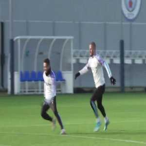 Walker chasing Bernardo around in training