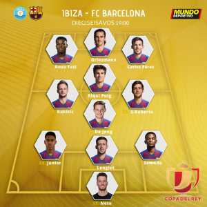 Barcelona will line up in Copa Del Rey against Ibiza with a backline of Semedo, Lenglet & Firpo, only one central defender.