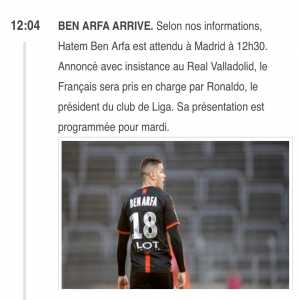 Hatem Ben Arfa is expected to sign with Real Valladolid. Presentation tomorrow.