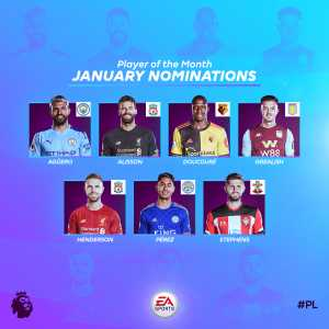 Premier League Player of the Month nominees: Sergio Aguero, Alisson Becker, Abdoulaye Doucouré, Jack Grealish, Jordan Henderson, Ayoze Perez and Jack Stephens