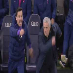 Mourinho's reaction when his assistant suddenly told him that Sterling is already on a yellow card. (funny)