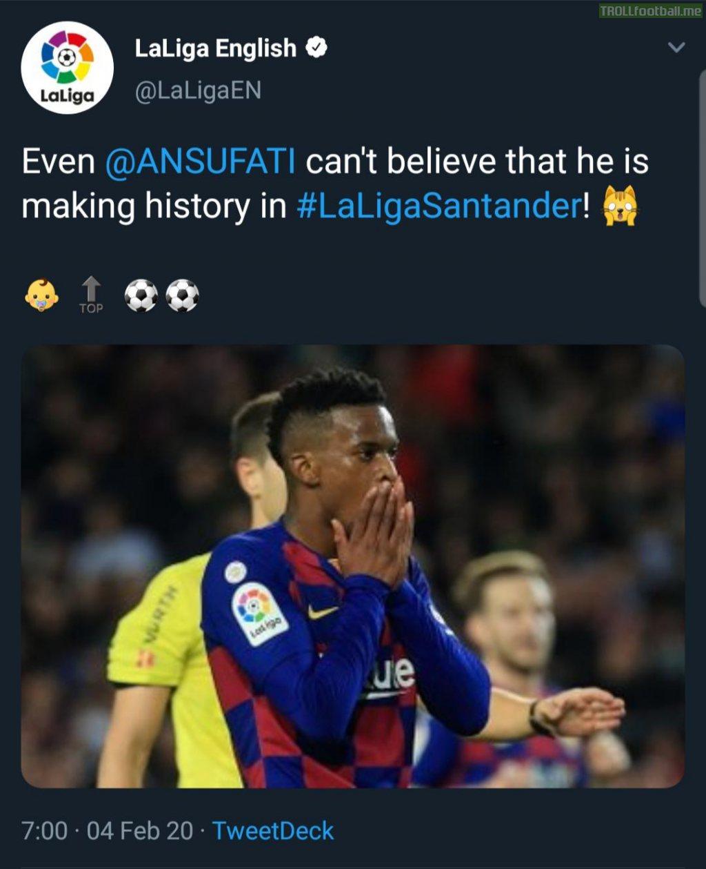 La Liga's official Twitter account mistaking Semedo for Fati