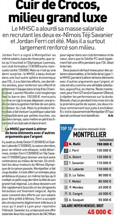 According to l'Equipe, Téji Savanier rejected last summer an offer from AC Milan to sign for his hometown club Montpellier, for half the wage he could have earned in Italy