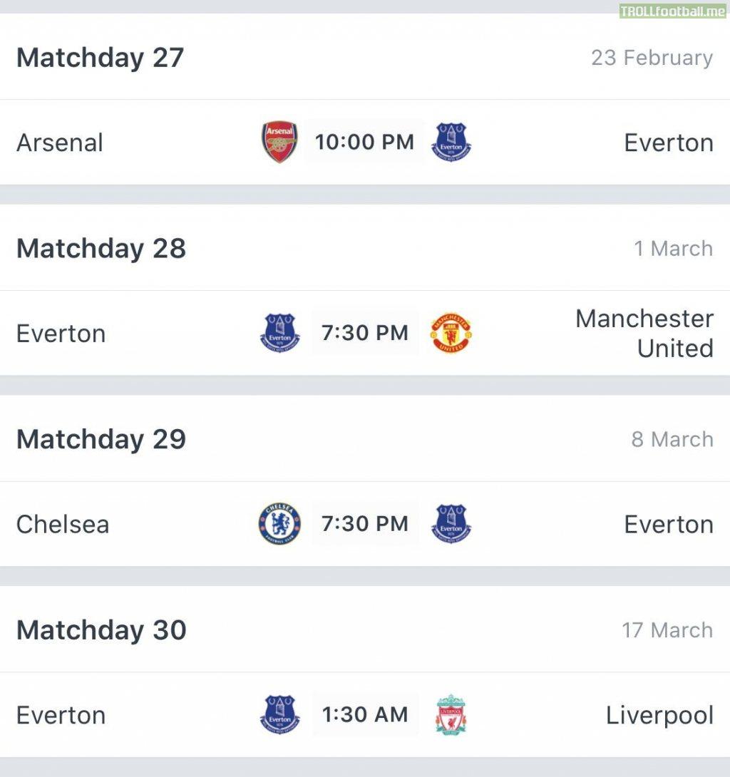 Everton's next 4 fixtures...