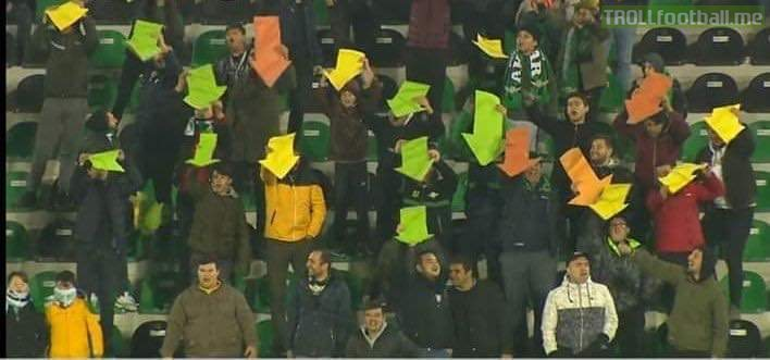 Turkish second division side Akhisarspor supporters showing their team where to find the goal, after their team was unable to score for 6 consecutive games