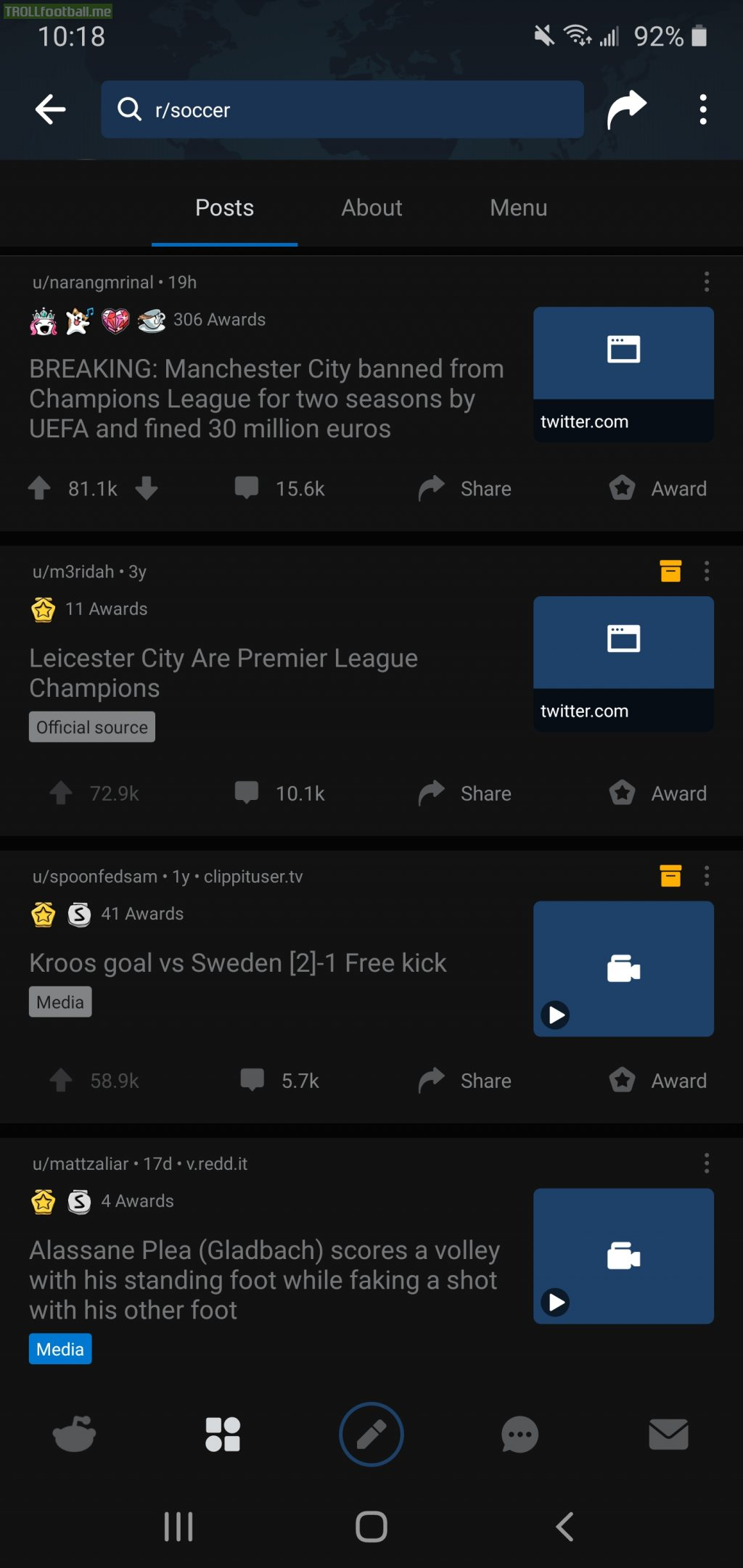 The news on Manchester City's Champions League ban is now the most upvoted post on r/soccer surpassing Leicester City's Premier League Win