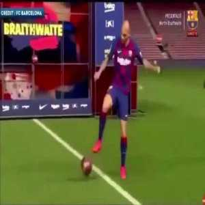 Martin Braithwaite showing his skills during Barca presentation