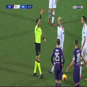 Dalbert (Fiorentina) Red card against Milan 62'