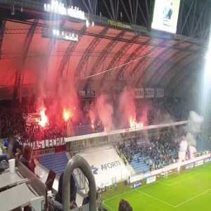 Lechia Gdansk hooligans targeted Lech Poznan family sector with stun flares