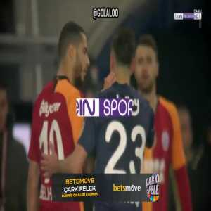 Younes Belhanda (Galatasaray) second yellow card and Deniz Turuc (Fenerbahnce) straight red for violent conduct.