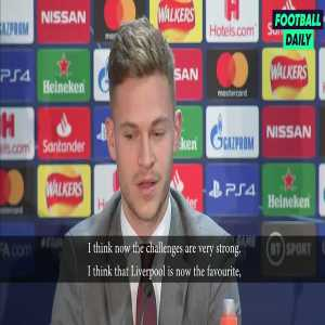 """Bayern Munich's Josh Kimmich: """"I think Liverpool are the favourites for the Champions League. We were happy with 0-0 back then."""""""