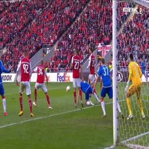 Matheus (Braga) penalty save against Rangers 45'+1'
