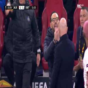 Heated row between Pepe Bordalas and Erik Ten Hag (Ajax - Getafe)