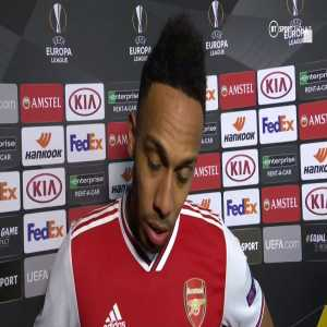 """""""It's very hard, very tough."""" Pierre-Emerick Aubameyang struggles to find the words to explain his last-minute miss which saw Arsenal fall out of the Europa League."""