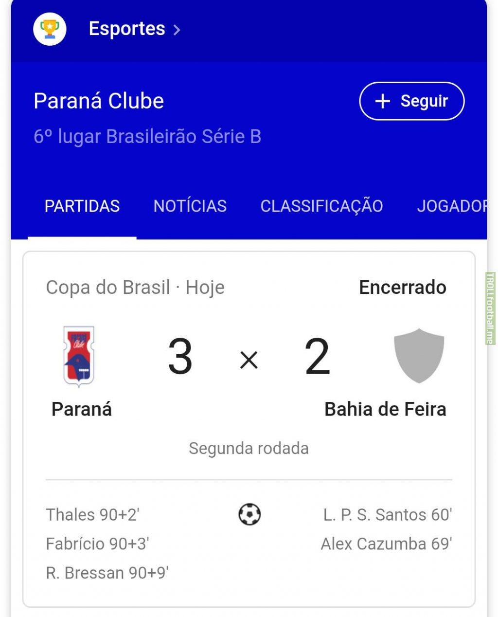 Paraná Clube overtime comeback over Bahia de Feira (Brazil National Cup)