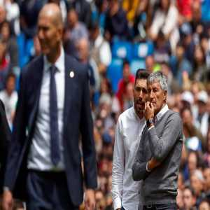 Quique Setien and his assistant Sarabia attended Madrid's match vs City at Bernabeu tonight. He stayed at the same hotel where Manchester City stayed.