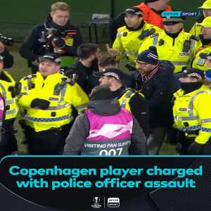 Michael Santos, who scored in Copenhagen's 3-1 victory at Celtic Park, has been charged over an alleged assault on a police officer during the #EuropaLeague