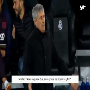 Juanma Castano (El Partidazo de COPE): The Barça dressing room is annoyed with Eder Sarabria's methods (Setien's assistmant). They consider it not the most appropriate way to direct a squad from the sidelines. (Video of Sarabria and Setien during El Clasico included)