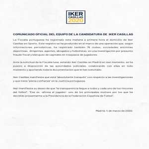Iker Casillas issued a statement about the Portuguese tax authorities' search warrant - FC Porto transfer