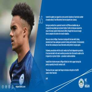Wigan Athletic confirm that during Robinson's medicals with AC Milan in January an irregular heart rhythm was picked up and will now undergo a medical procedure to address the issue.