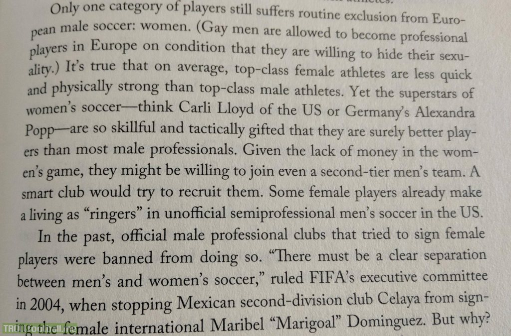 "Excerpt from ""Soccernomics"" by Simon Kuper - when will we see women get respect in international football?"