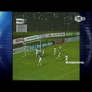 It's not much, but I share with you a goal by Venezuelan goalkeeper Rafael Dudamel against Argentina 1996