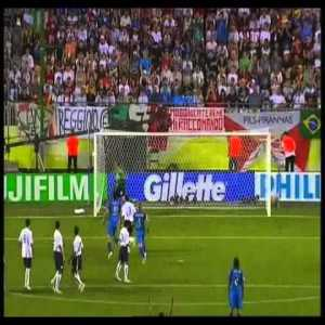 Italy 1-1 USA WC 2006. The USA were the only team to take points off of the eventual champions in this violent affair which had 3 red cards and left Brian McBride bloodied.