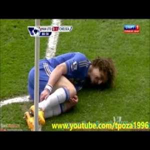 Rafael awful foul on David Luiz which resulted in a smile coming from the Brazilian center back.
