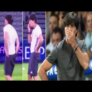 Joachim Low presents how to spread COVID-19. Please wash your hands!