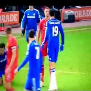 Jordan Henderson stares down Diego Costa