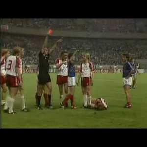 France captain Manuel Amoros headbutts Jesper Olsen of Denmark - Euro'84