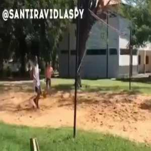 Ronaldinho playing footvolley with his prison mates in jail