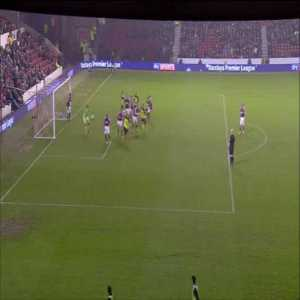Centre back Gabriele Angella scores an audacious flick from a corner