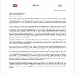 UEFA President Aleksander Čeferin and ECA President Andrea Agnelli have wrote a letter to Federations, Leagues and clubs: 'Any decision to suspend the national championships at this time would be premature and unjustified.'